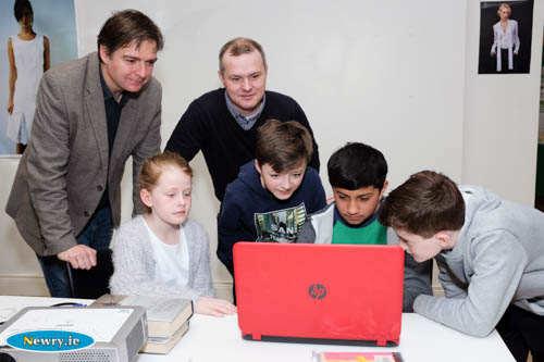 Pictured in Newry Library on Saturday were some of the participants in the Newry 2020 Minecraft competition. The competition involves children designing a City Park for the Albert Basin site in Newry. From left: Brian Cleland, Chairperson, Newry 2020; Orlagh McCullagh, Jonny McCullagh, Minecraft guru; Daniel King, Hareth Khan and Padraig McCullagh. Photograph: Columba O'Hare