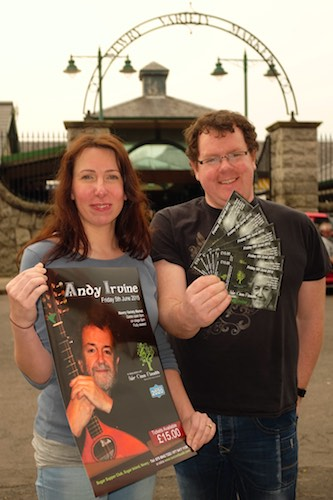 Sarah Meaney and Neil Bradley, from Iúr Cinn Fleadh are looking forward to the Andy Irvine Concert in Newry Market on Friday the 5th of June. The gig is a taster for two further concerts from the Hothouse Flowers and Kieran Goss and Frances Black at Iur Cinn Fleadh in September.   Iúr Cinn Fleadh is a part of the Newry 2020 initiative and tickets for all the gigs are on sale from www.iurcinnfleadh.com or from the Sugar Supper Club, Sugar Island, Newry.  Photograph: Columba O'Hare