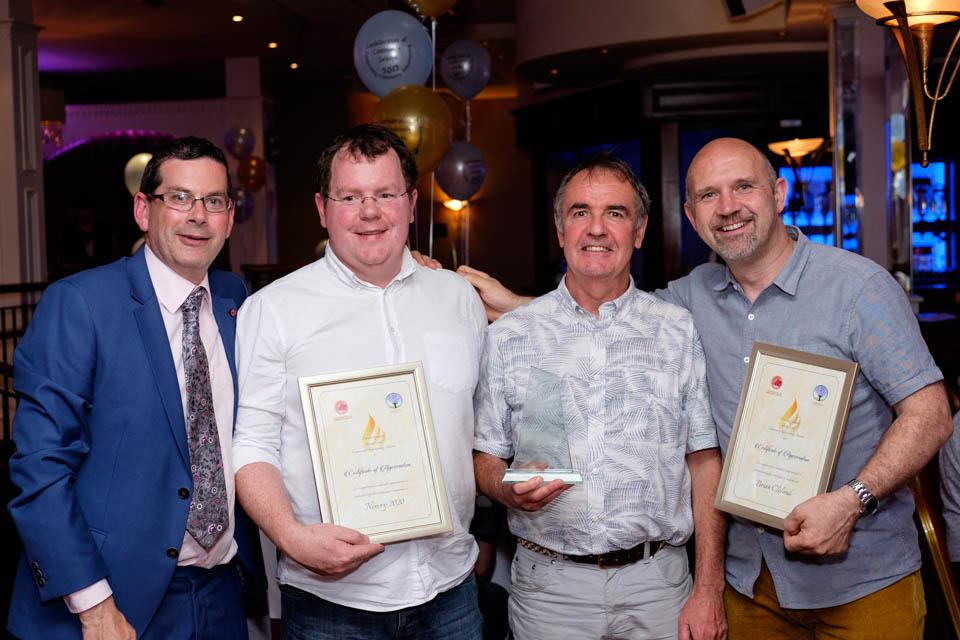 Members of Newry 2020 pictured with their Shining Light Award at the Confederation of Community Groups, Patricia Graham Shining Light Community Volunteering Awards in Newry. From left: Columba O'Hare, Neil Bradley, Maurice McConville and Garry McElherron. The group won the Community Group/ Association category jointly with Killowen Fundraising Group for Duchenne Muscular Dystrophy.