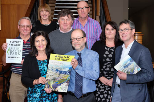 Some of the Newry G.P.'s supporting the development of a 15 Acre Albert Basin Park. From left: Dr Michael McKnight, Clanrye Surgery; Dr Derval O'Reilly, Cornmarket Surgery; Dr Shirley Forshaw, Clanrye Surgery; Dr Richard Flood, Cornmarket Surgery; Dr Arnie McDowell, Clanrye Surgery; Dr Michael Fearon, Clanrye Medical Practice; Dr Ann Delargy, Banbridge Surgery (Newry resident) and Dr Patrick McKinley, Cornmarket Surgery.