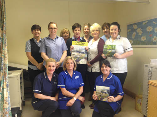 Medical staff: Philomena Mc Elroy, Caroline Dowdall, Elaine Devlin and Regina Rea (practice receptionists), Sharon Liggett( practice manager), Maria Kearns(practice nurse), Carmel Comaskey (treatment room nurse), Aideen Mcginn (practice nurse) Front row: Christina Martin, Ber Harty and Annemarie Fitzmaurice( practice nurses).